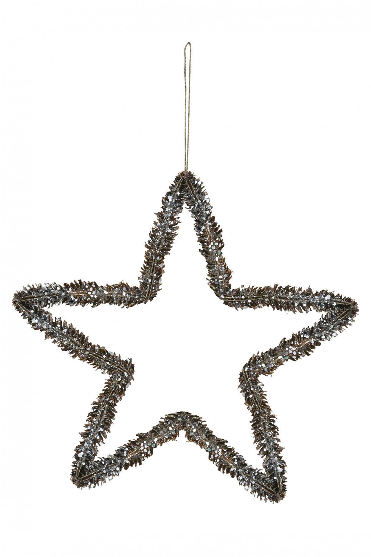 house doctor Dekorativní hvězda Shiny Pine Cone, hnědá barva, dřevo, kov