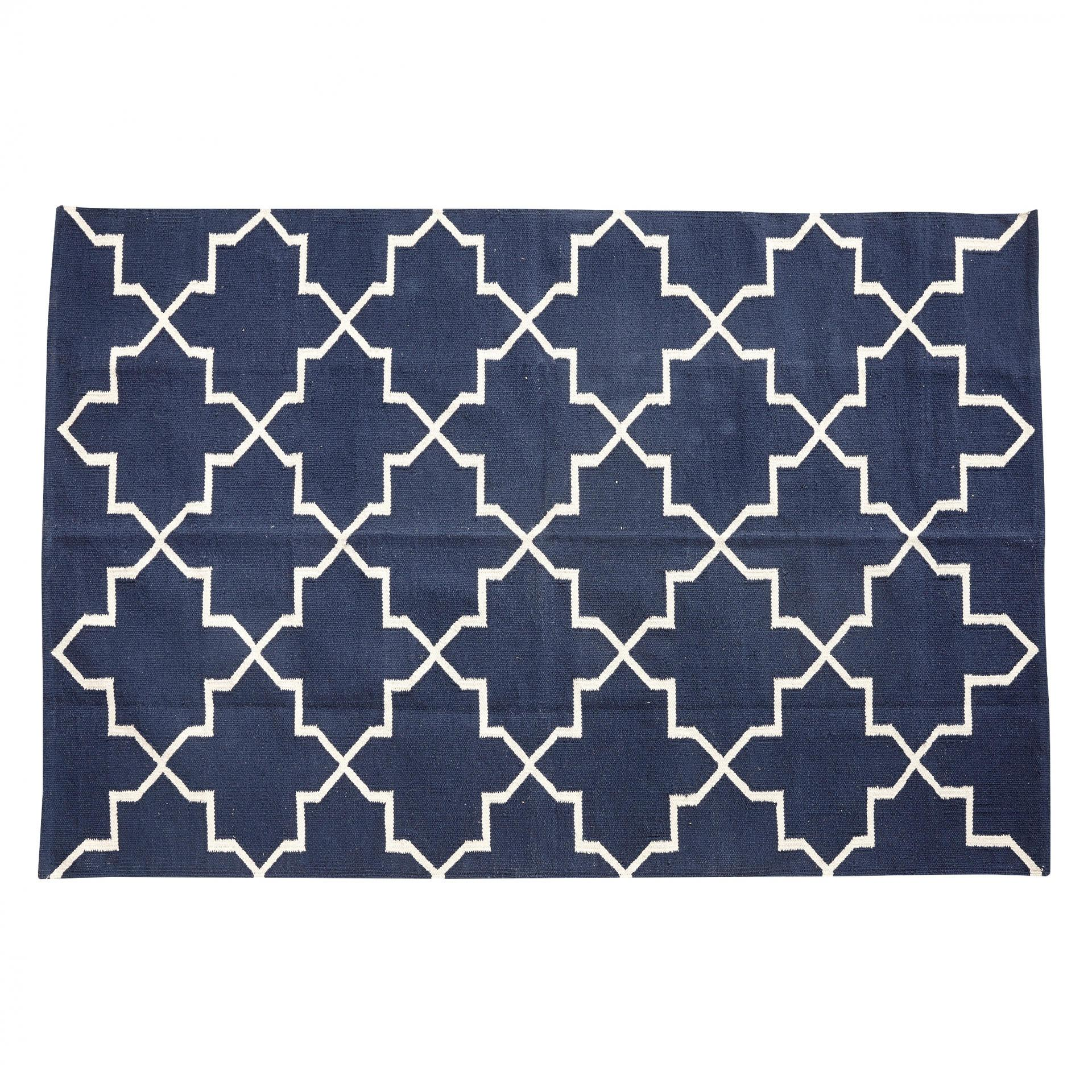 Hübsch Tkaný koberec Border Line 120x180, modrá barva, textil Modrá