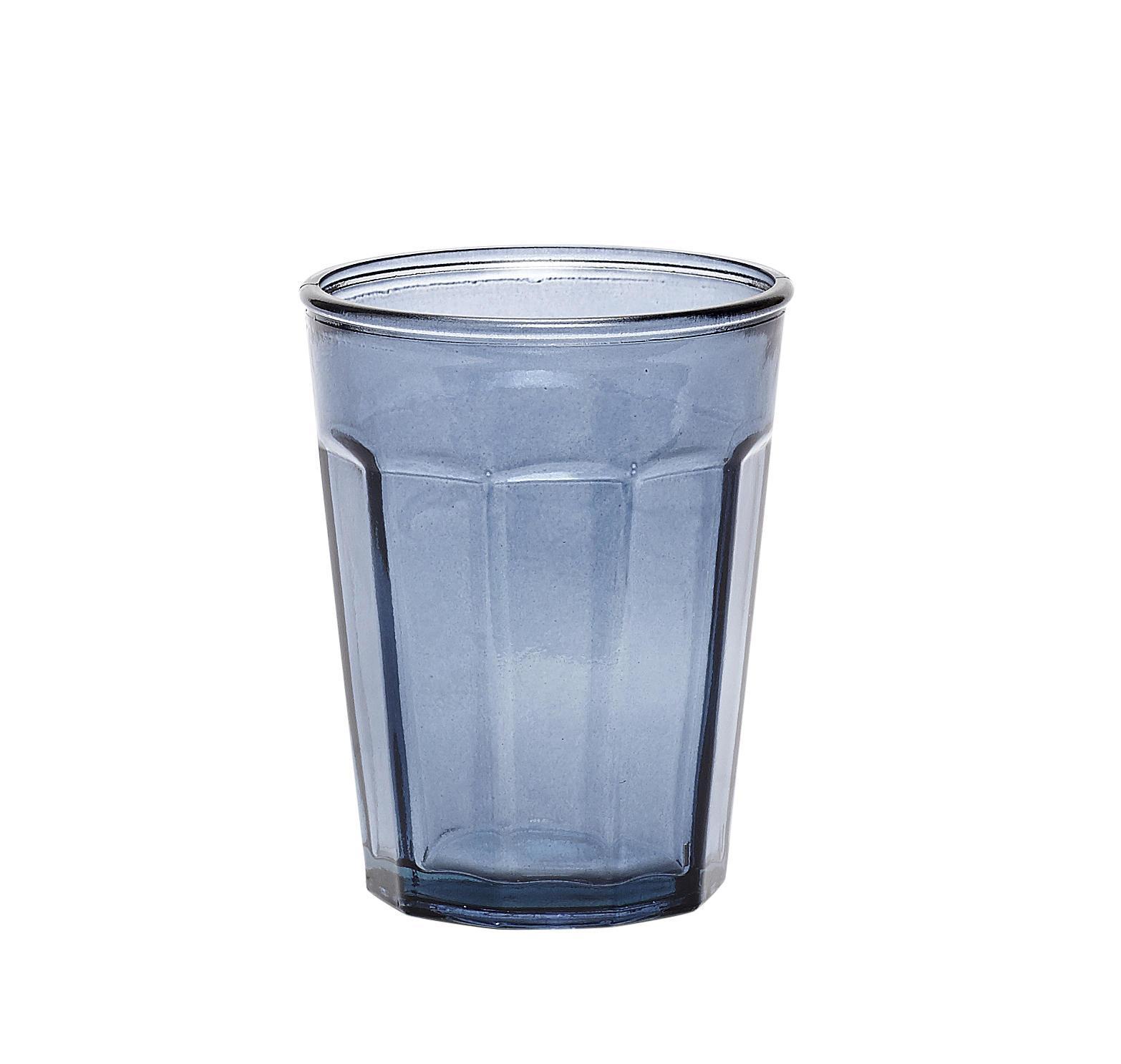 Hübsch Sklenička z recyklovaného skla Blue, modrá barva, sklo