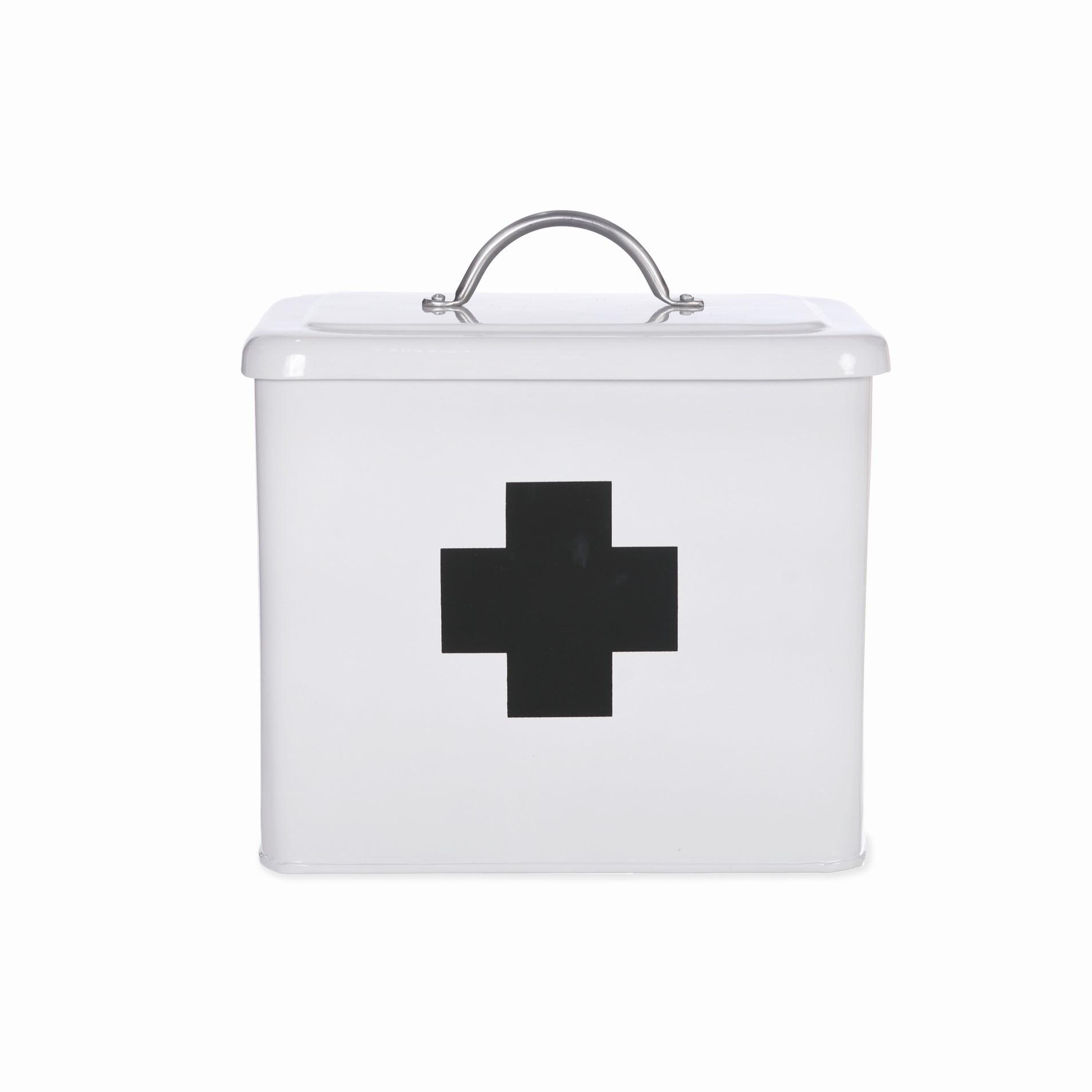 Garden Trading Plechový box na léky Chalk, černá barva, bílá barva, kov