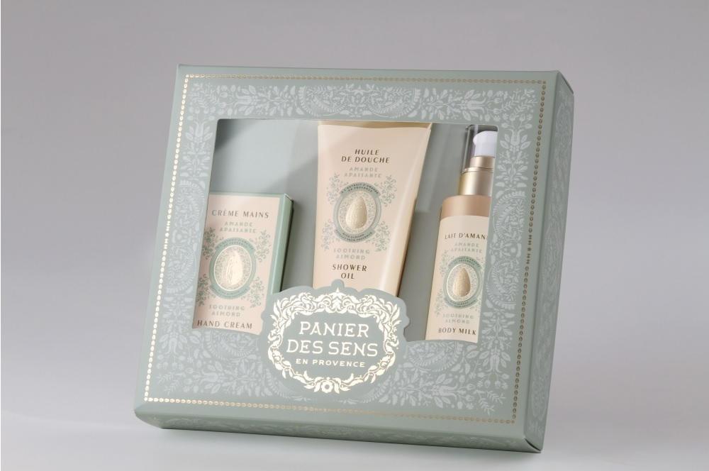 Panier des Sens Dárkový set kosmetiky - mandle, zelená barva, krémová barva, plast, papír