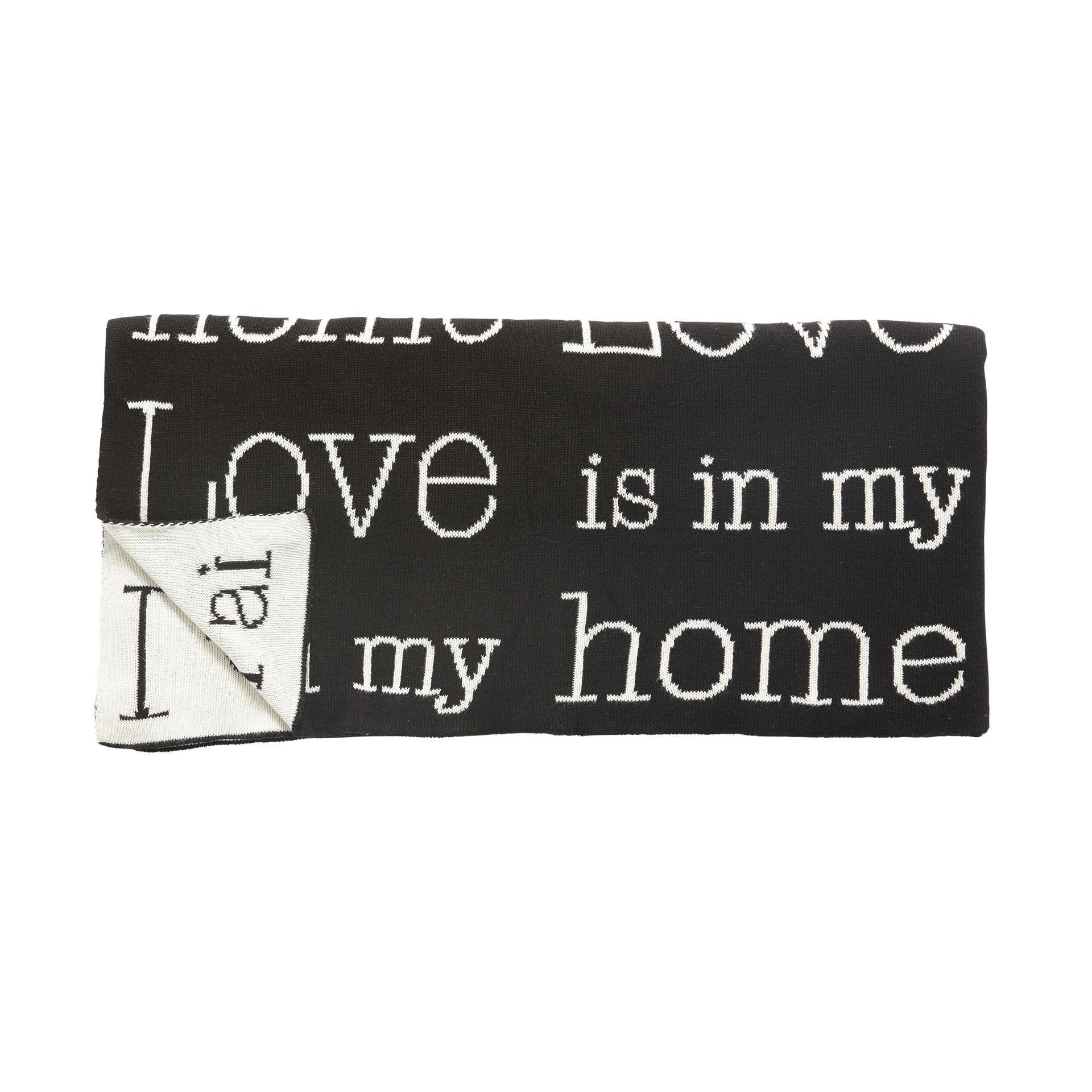 Hübsch Bavlněný pléd Love is in my home 130x200, černá barva, krémová barva, textil
