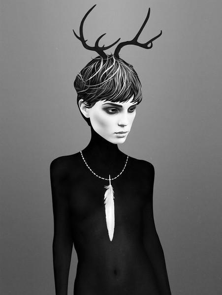 Ruben Ireland Grafický plakát The Cold 50 x 70 cm, černá barva, bílá barva, papír