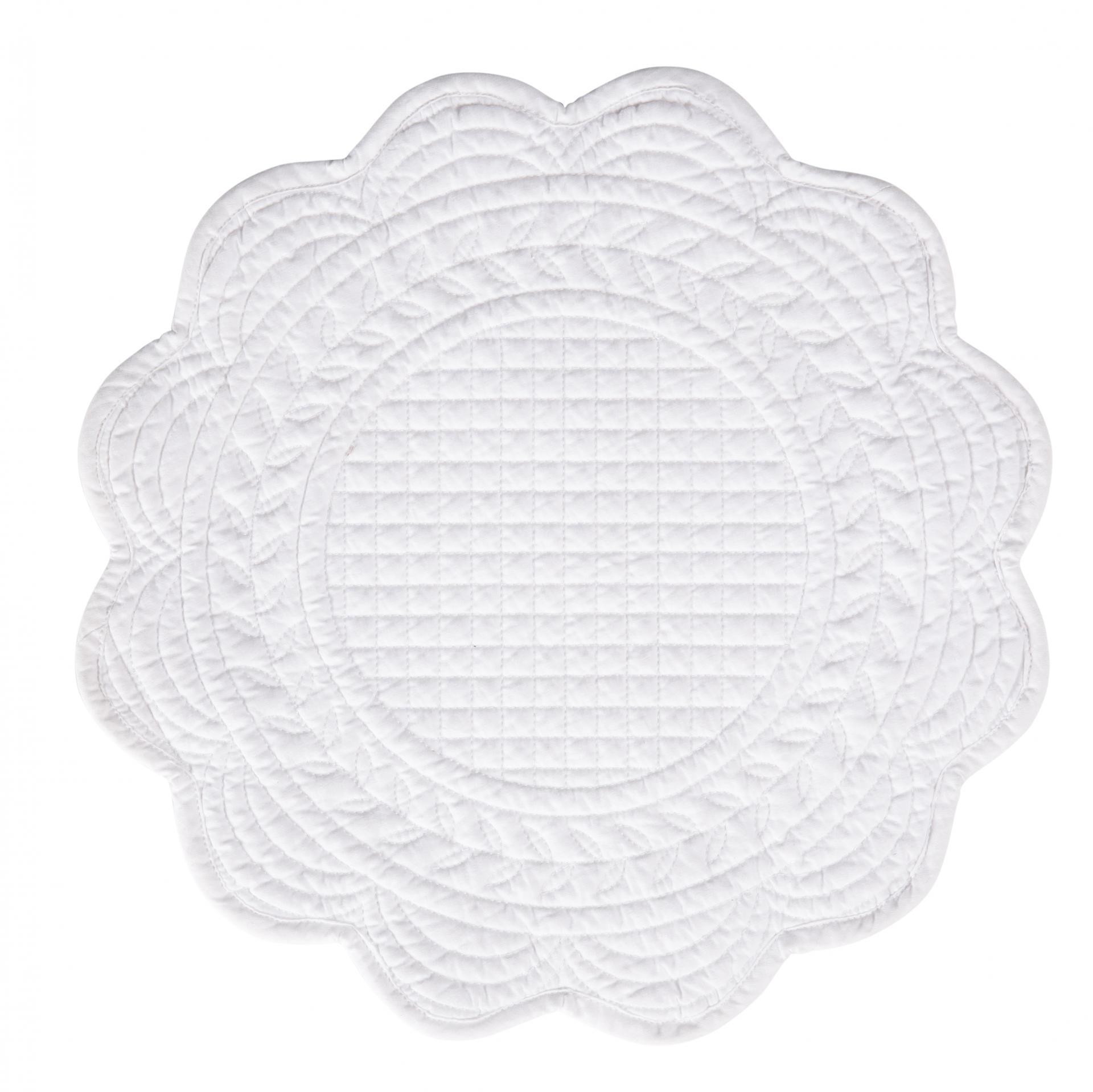 CÔTÉ TABLE Prošívané prostírání Blanc 40cm, bílá barva, textil