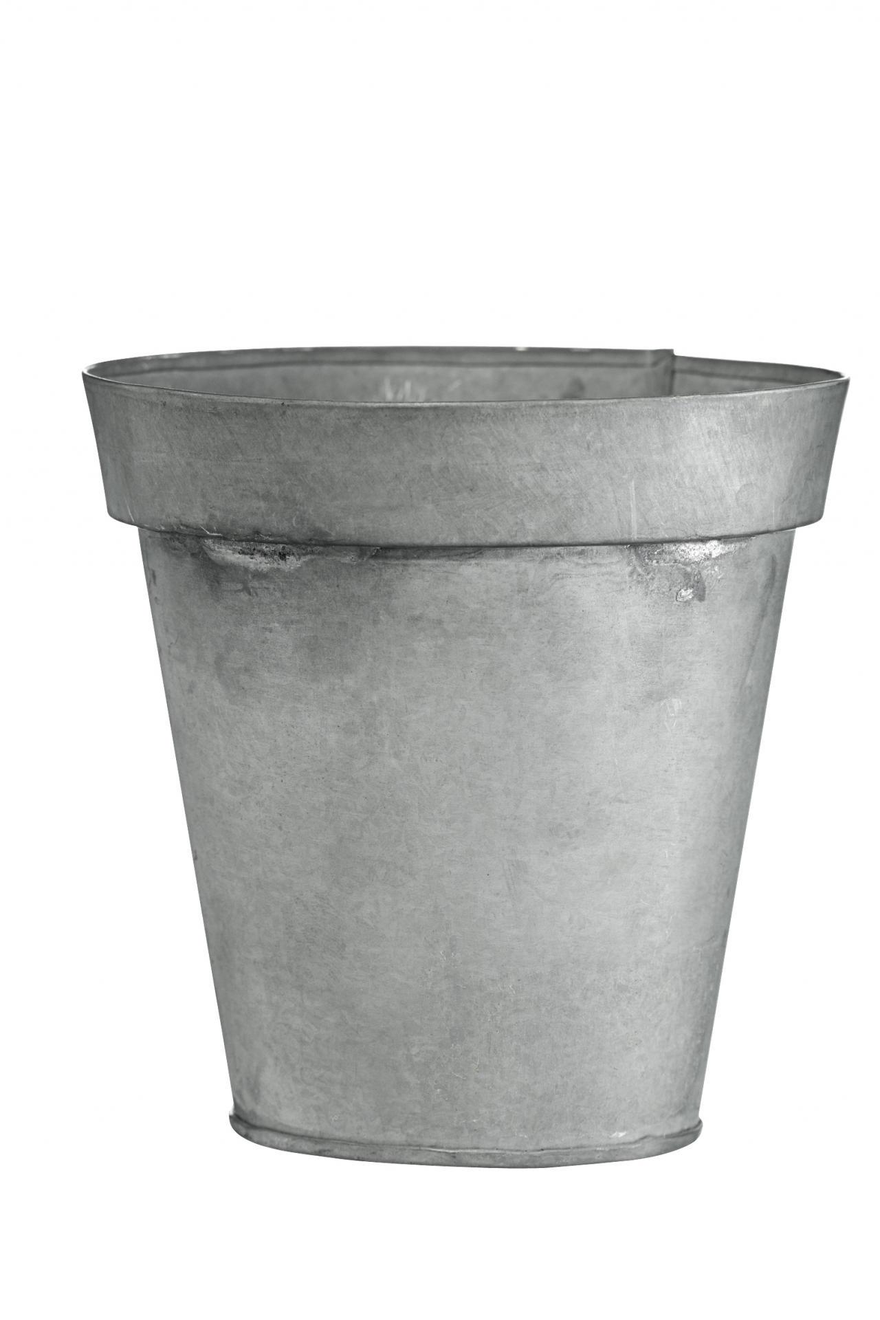 MADAM STOLTZ Obal na květiny Round Zinc, šedá barva, zinek