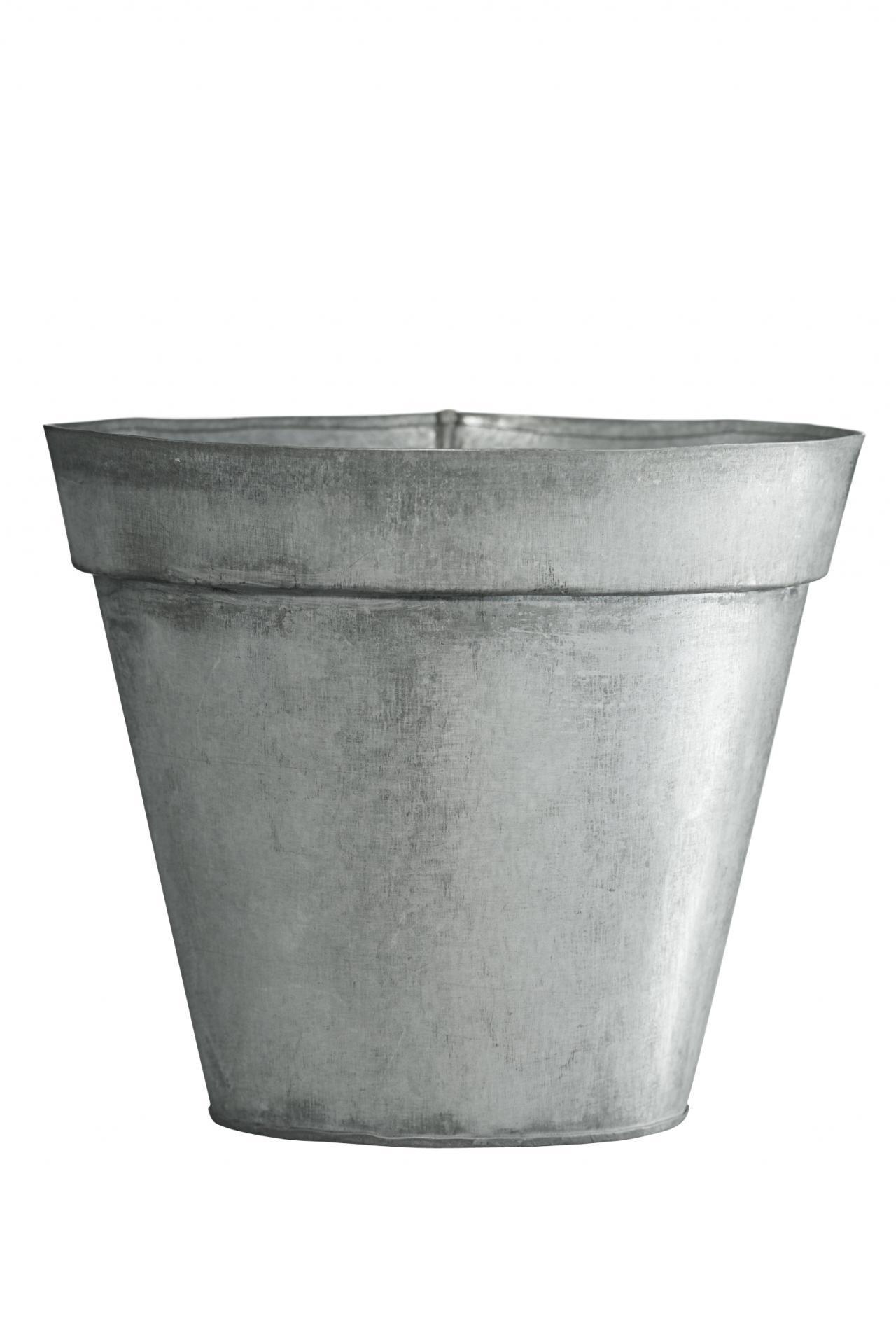 MADAM STOLTZ Obal na květiny Zinc 13 cm, šedá barva, zinek
