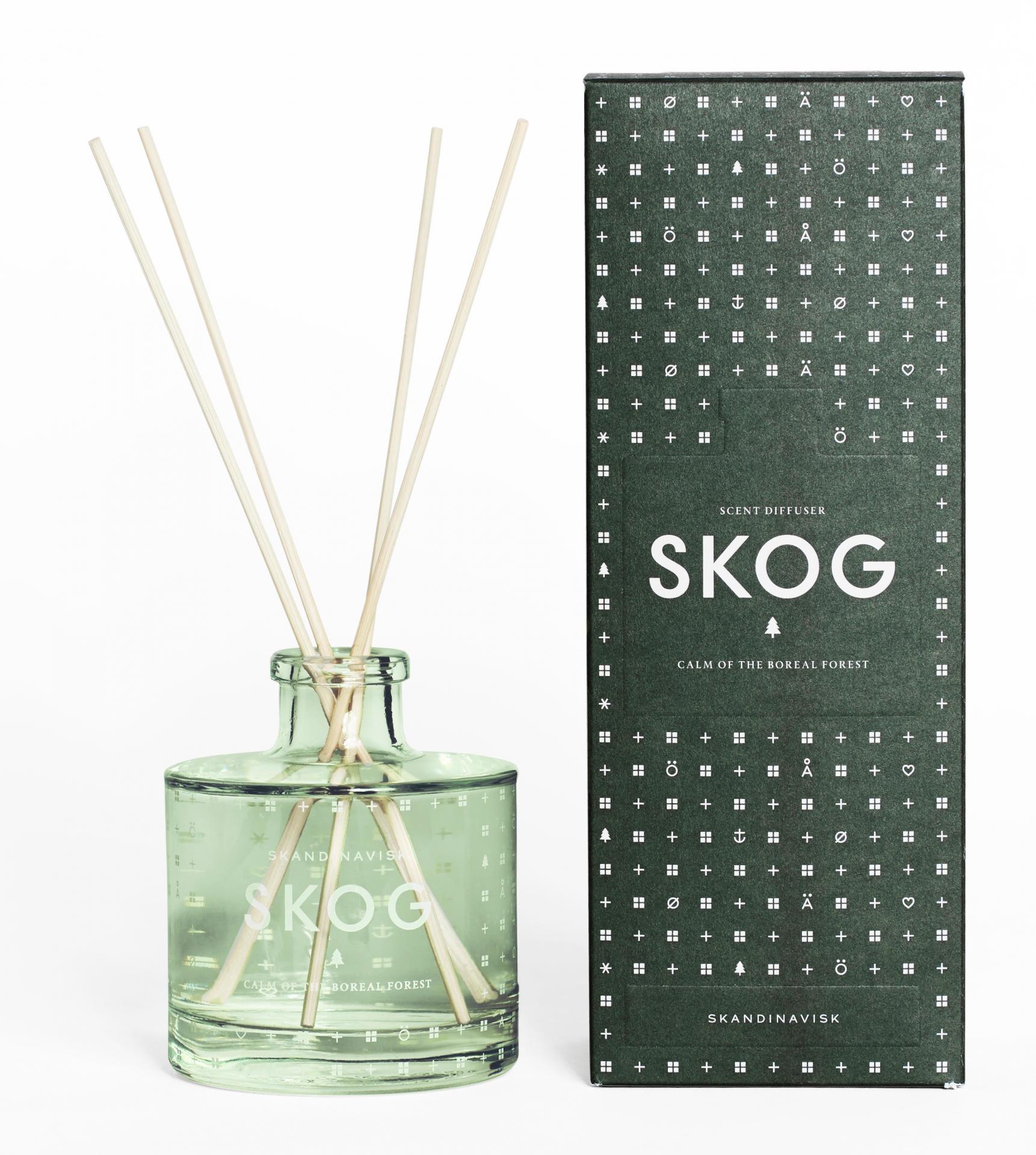 SKANDINAVISK Vonný difuzér SKOG (les) 200 ml, zelená barva, sklo