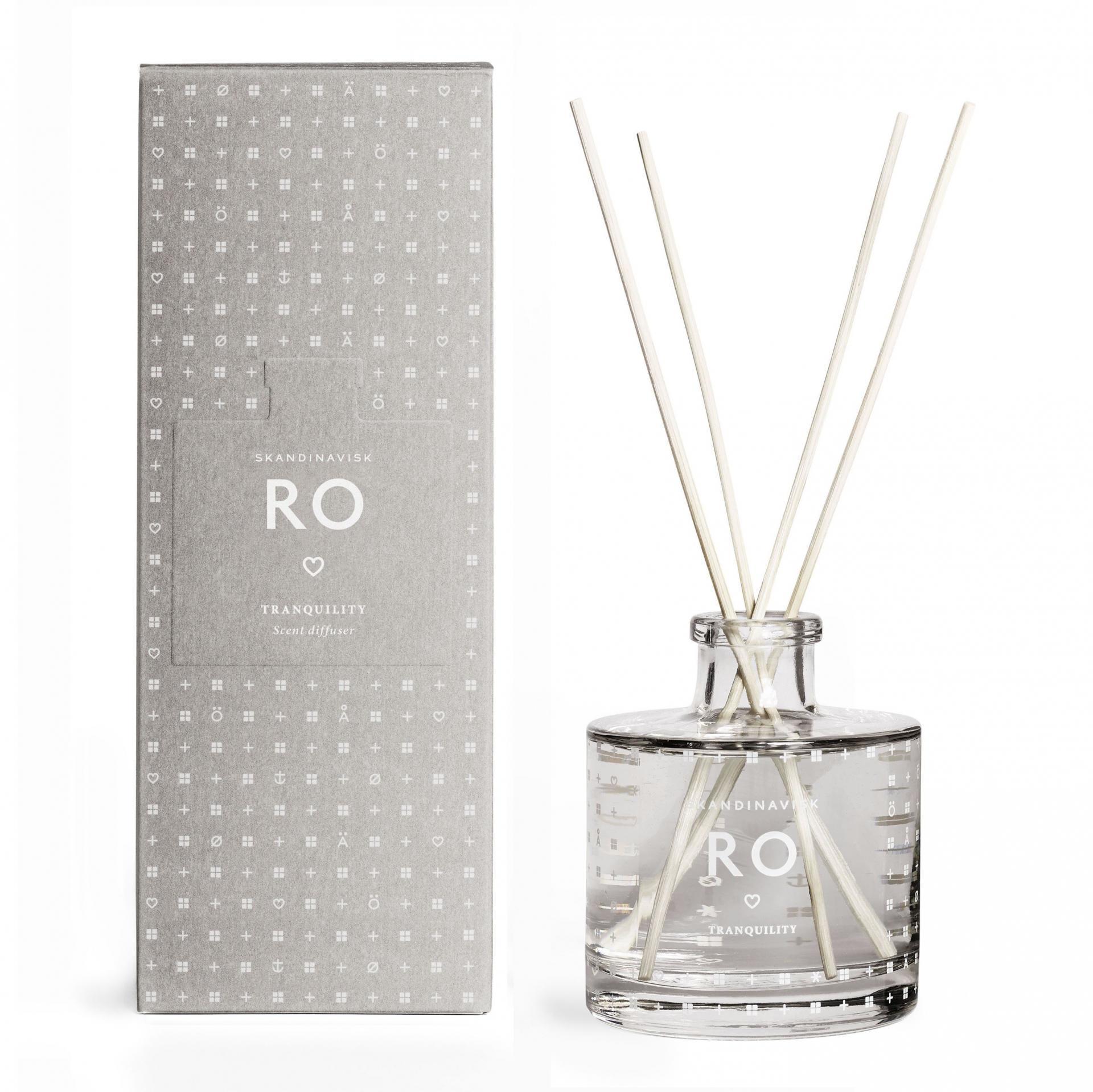 SKANDINAVISK Vonný difuzér RO (klid) 200 ml, šedá barva, bílá barva, sklo