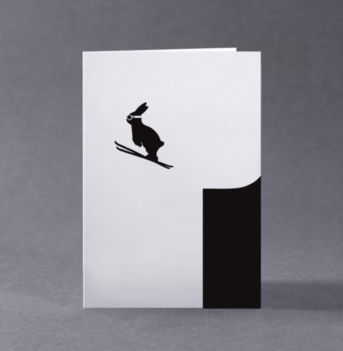 HAM Vánoční přání s králíkem Ski Jumping Rabbit, černá barva, papír