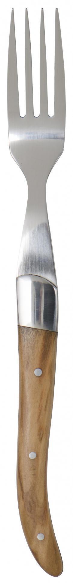 IB LAURSEN Steaková vidlička SKARP, hnědá barva, stříbrná barva, dřevo, kov