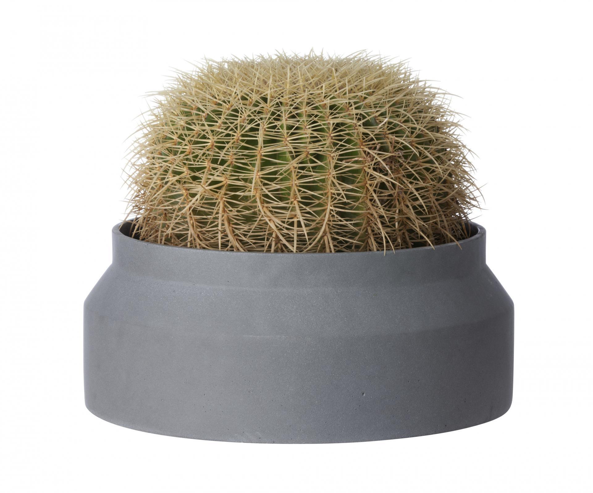 ferm LIVING Betonový květináč Dark Grey Large 45 cm, šedá barva, beton