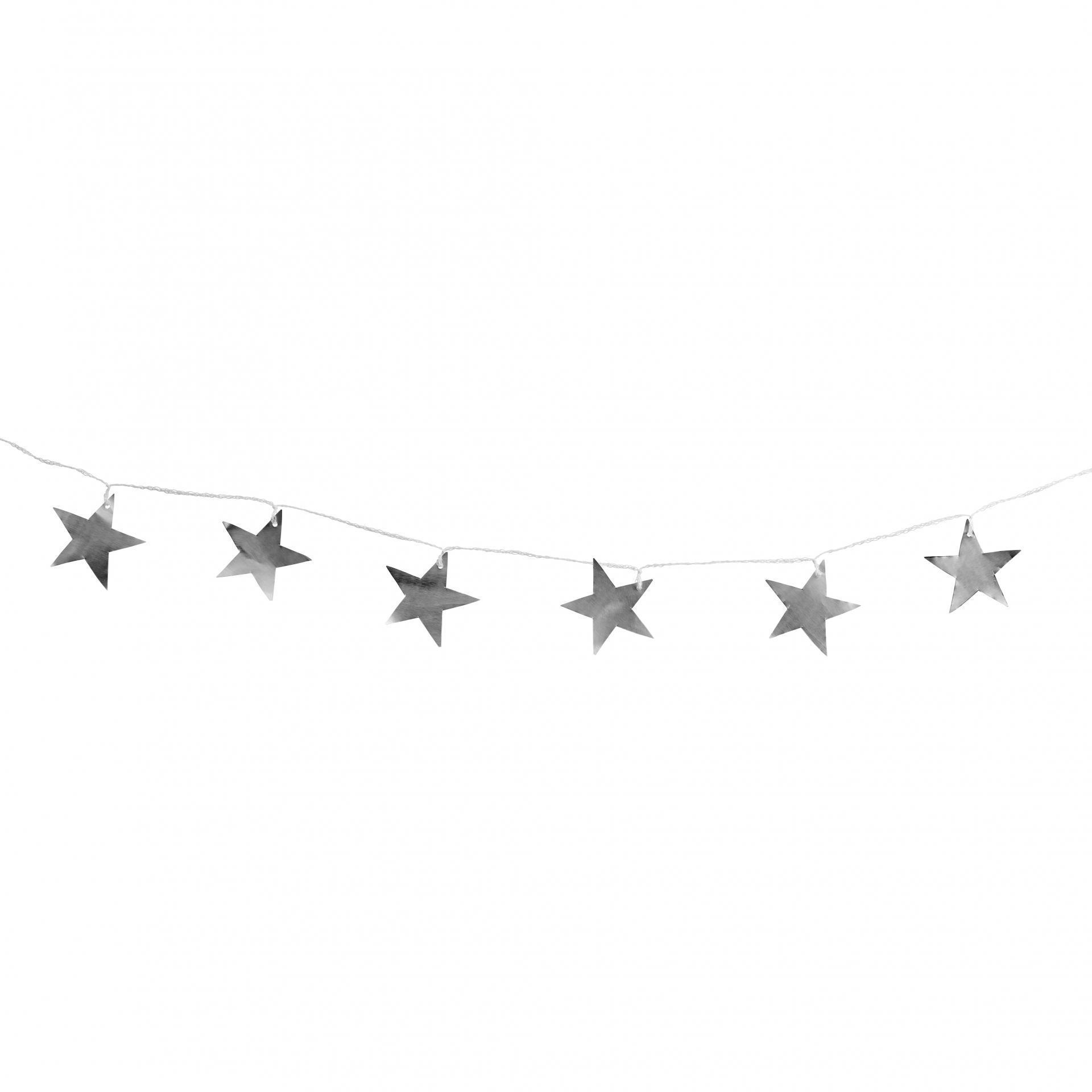 Tine K Home Vánoční girlanda Silver Metal Stars, stříbrná barva, kov, textil