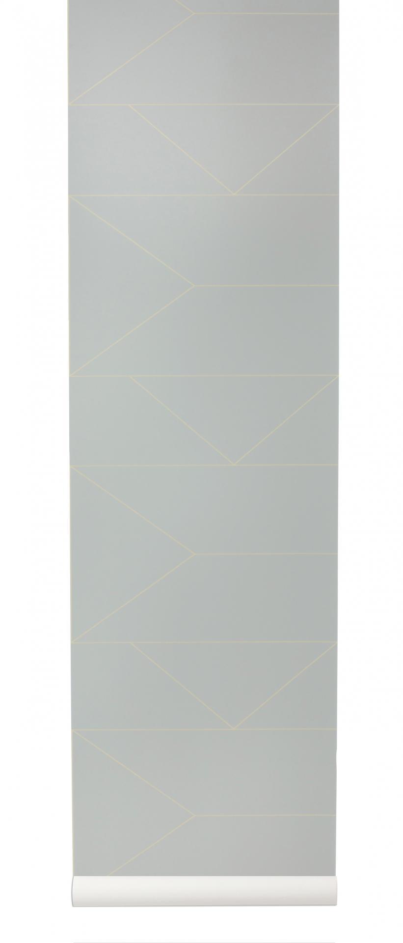 ferm LIVING Tapeta Gold Lines/Grey