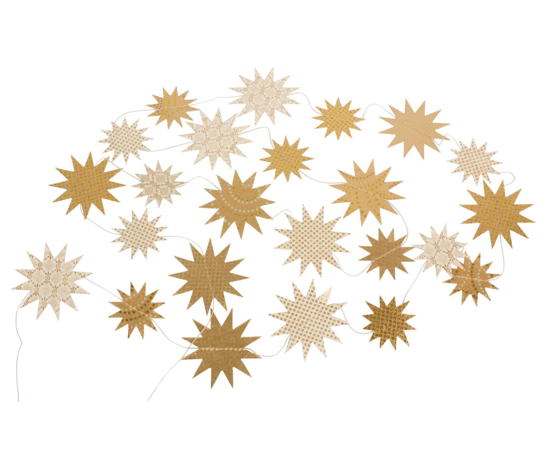 Maileg Vánoční girlanda Christmas Gold Stars, zlatá barva, papír
