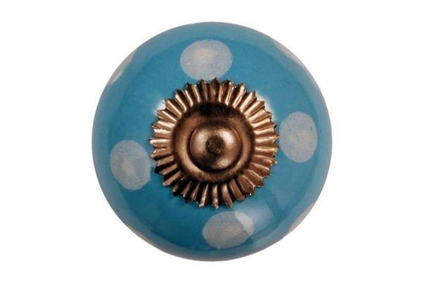 La finesse Porcelánová úchytka Blue/white dots, modrá barva, porcelán