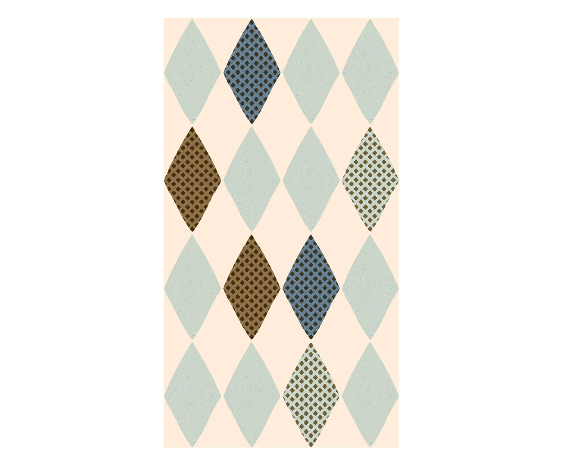 Maileg Papírové ubrousky Harlekin Blue, modrá barva, zlatá barva, papír
