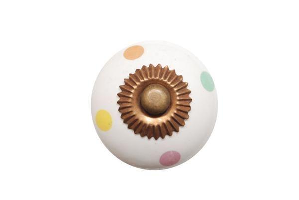 La finesse Porcelánová úchytka Mix dots, multi barva, porcelán 40 mm