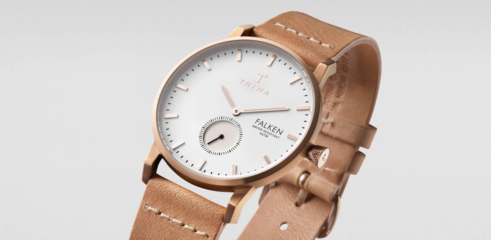 TRIWA Dámské hodinky Triwa Rose Falken, béžová barva, kov, kůže