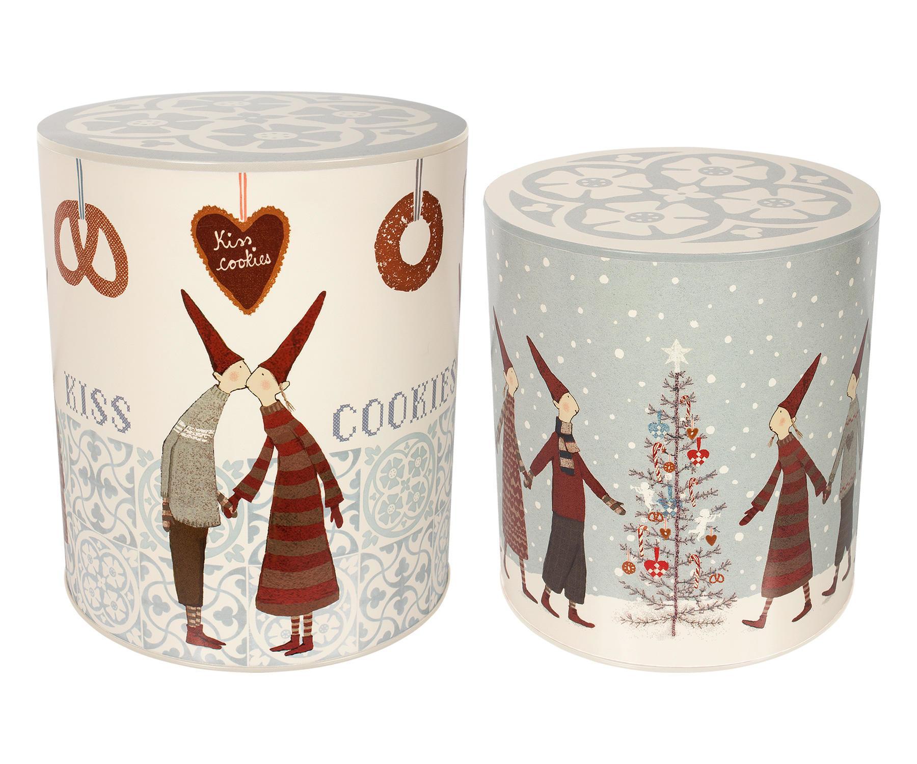 Maileg Vánoční box Pixy Cookies Menší, šedá barva, bílá barva, kov