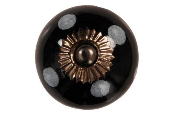 La finesse Porcelánová úchytka Black/ white dots, černá barva, porcelán