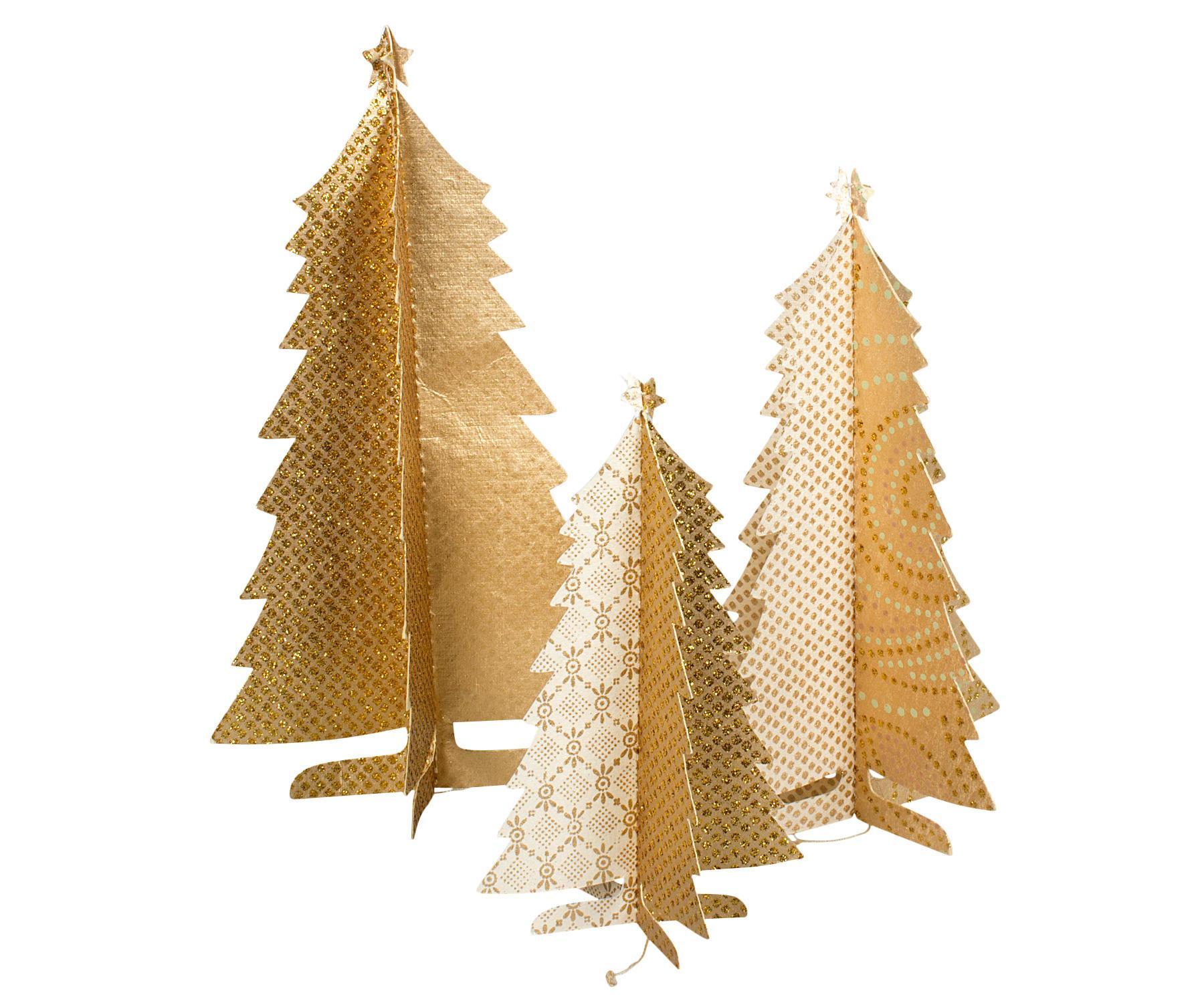 Zlaté papierové stromčeky