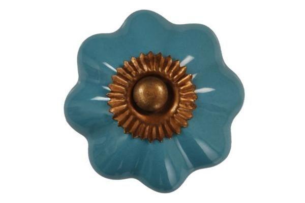 La finesse Porcelánová úchytka Sarah blue, modrá barva, porcelán