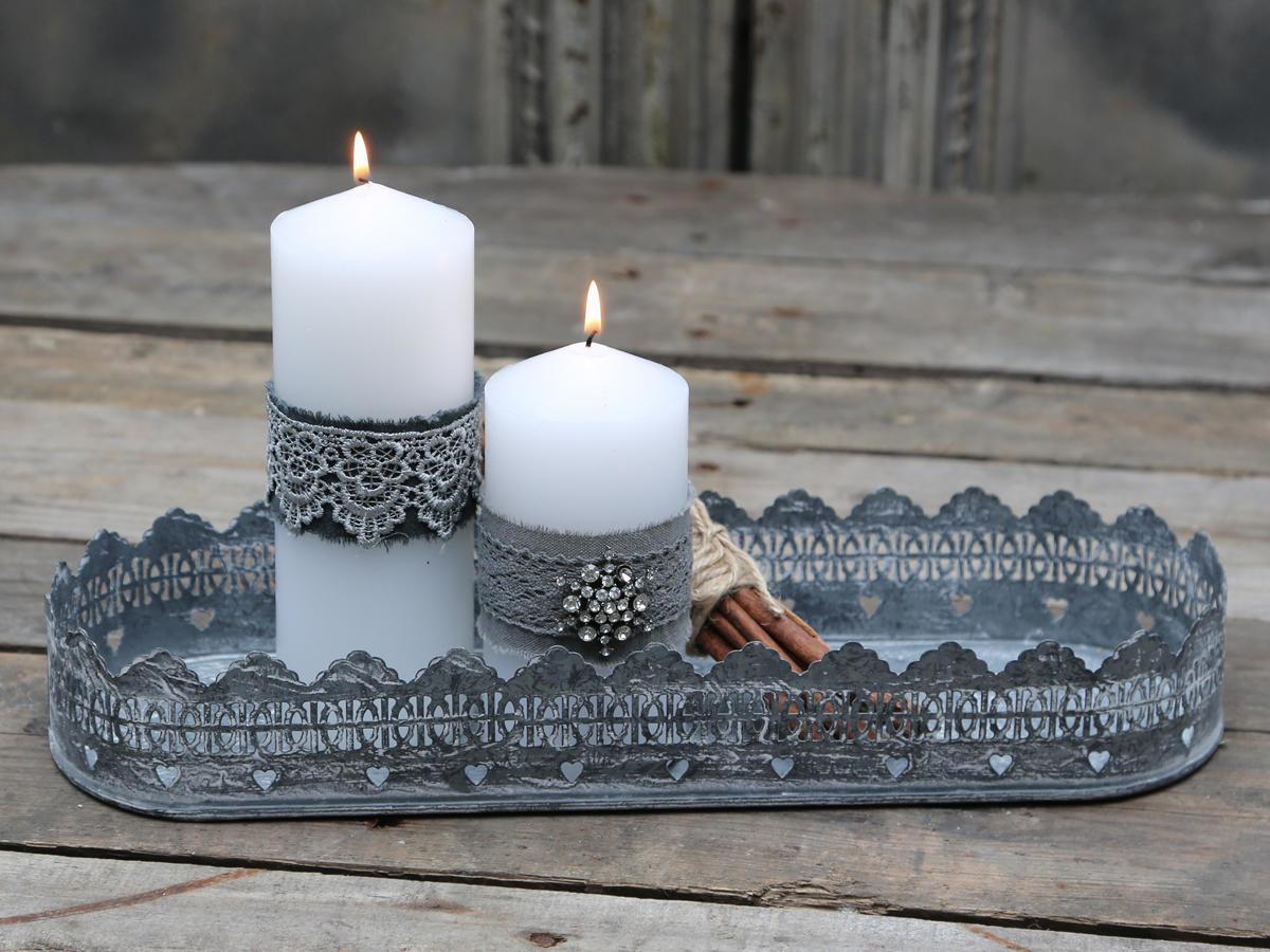 Chic Antique Zinkový podnos Lace, šedá barva, zinek