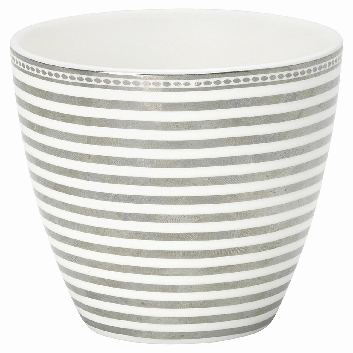 GREEN GATE Latte cup Stripe silver, stříbrná barva, porcelán 350 ml