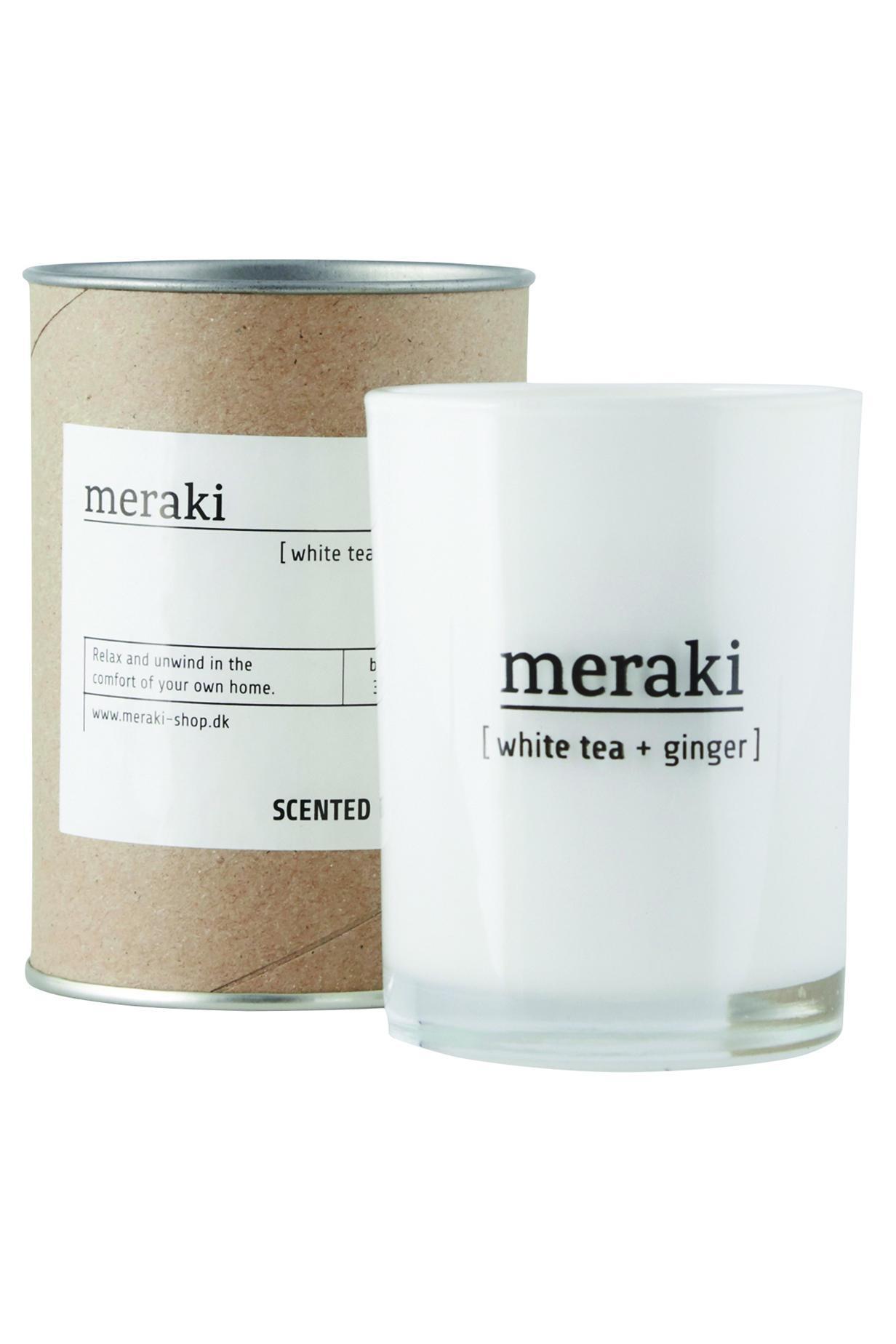 meraki Vonná svíčka White tea & Ginger, bílá barva, sklo
