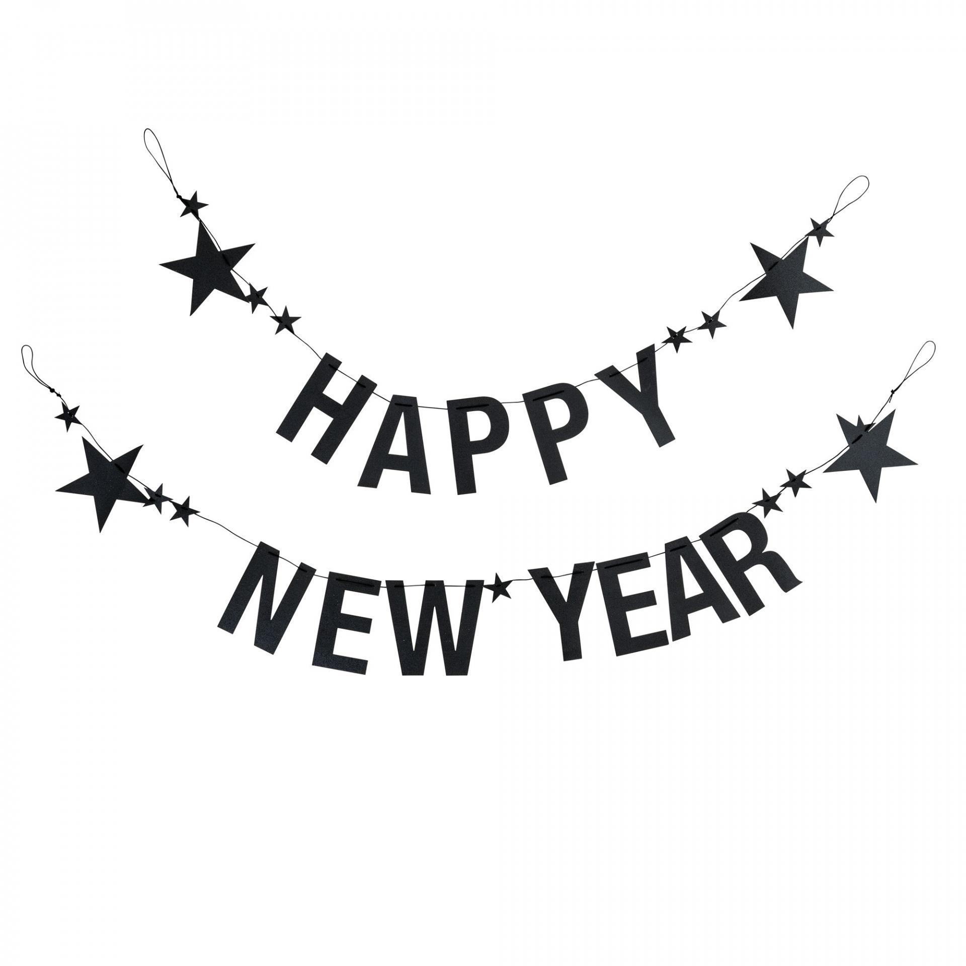 Bloomingville Papírová girlanda Happy New Year, černá barva, papír