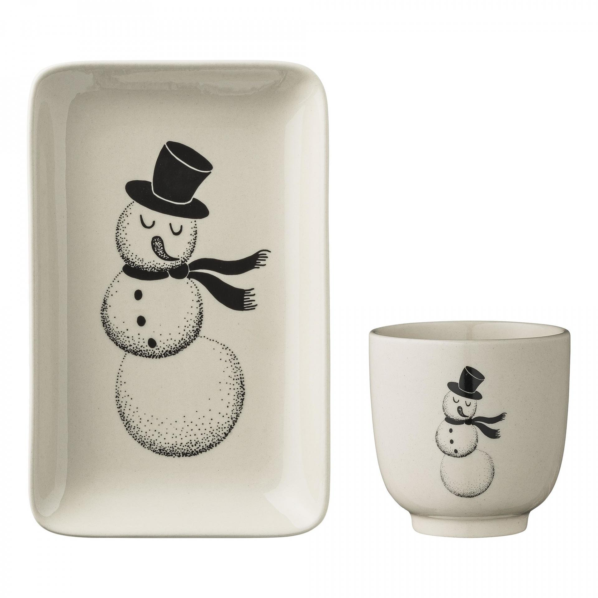 Bloomingville Tácek s kalíškem pro děti Snowman - set 2 ks, černá barva, bílá barva, keramika