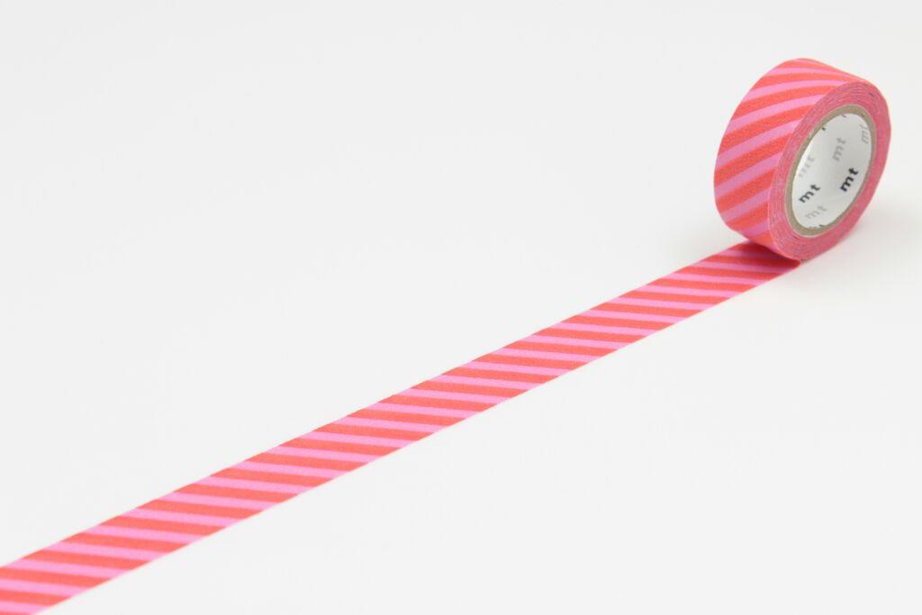 mt Designová samolepicí páska Stripe pink x red, červená barva, růžová barva, papír