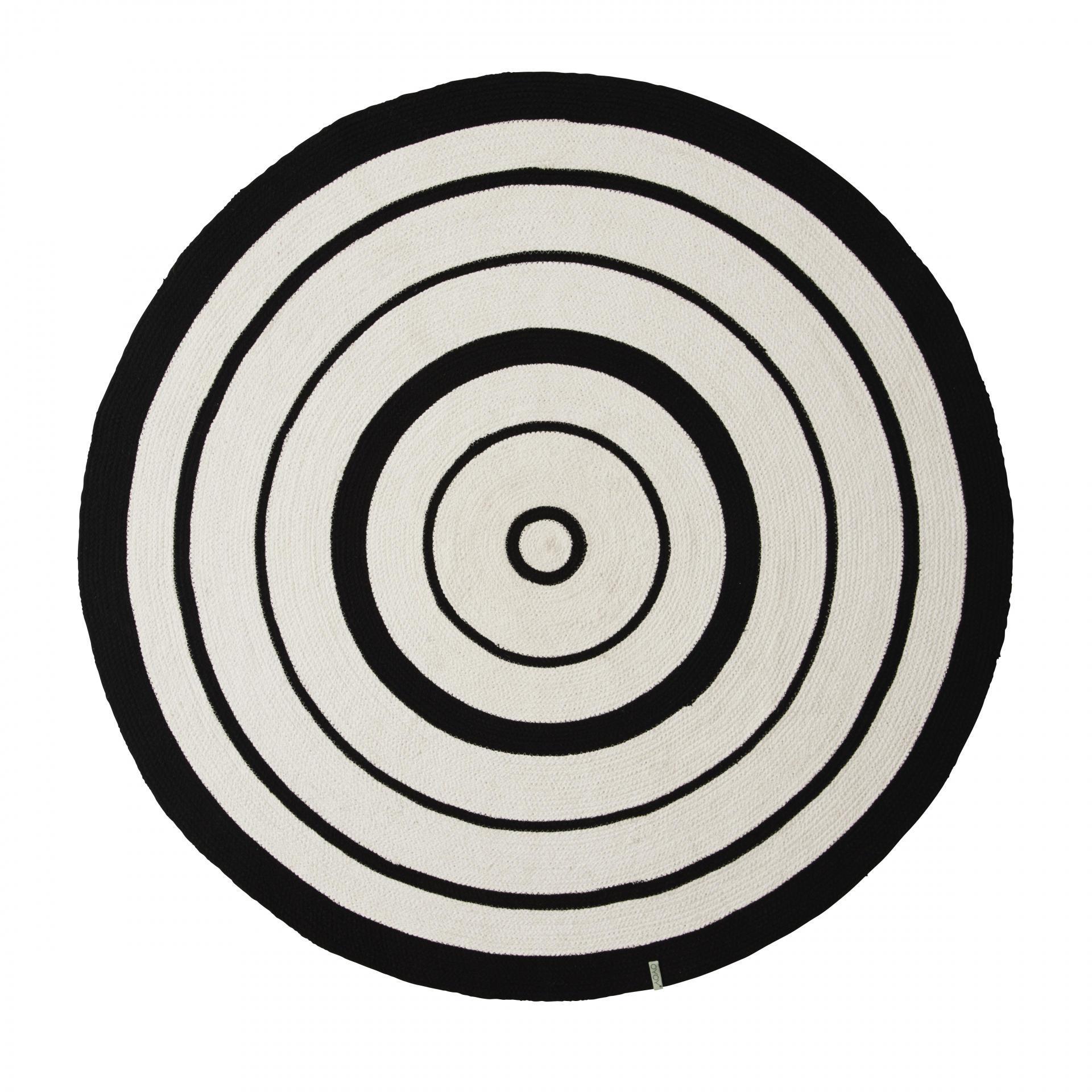 OYOY Bavlněný kobereček Circle Rug 120cm, černá barva, textil