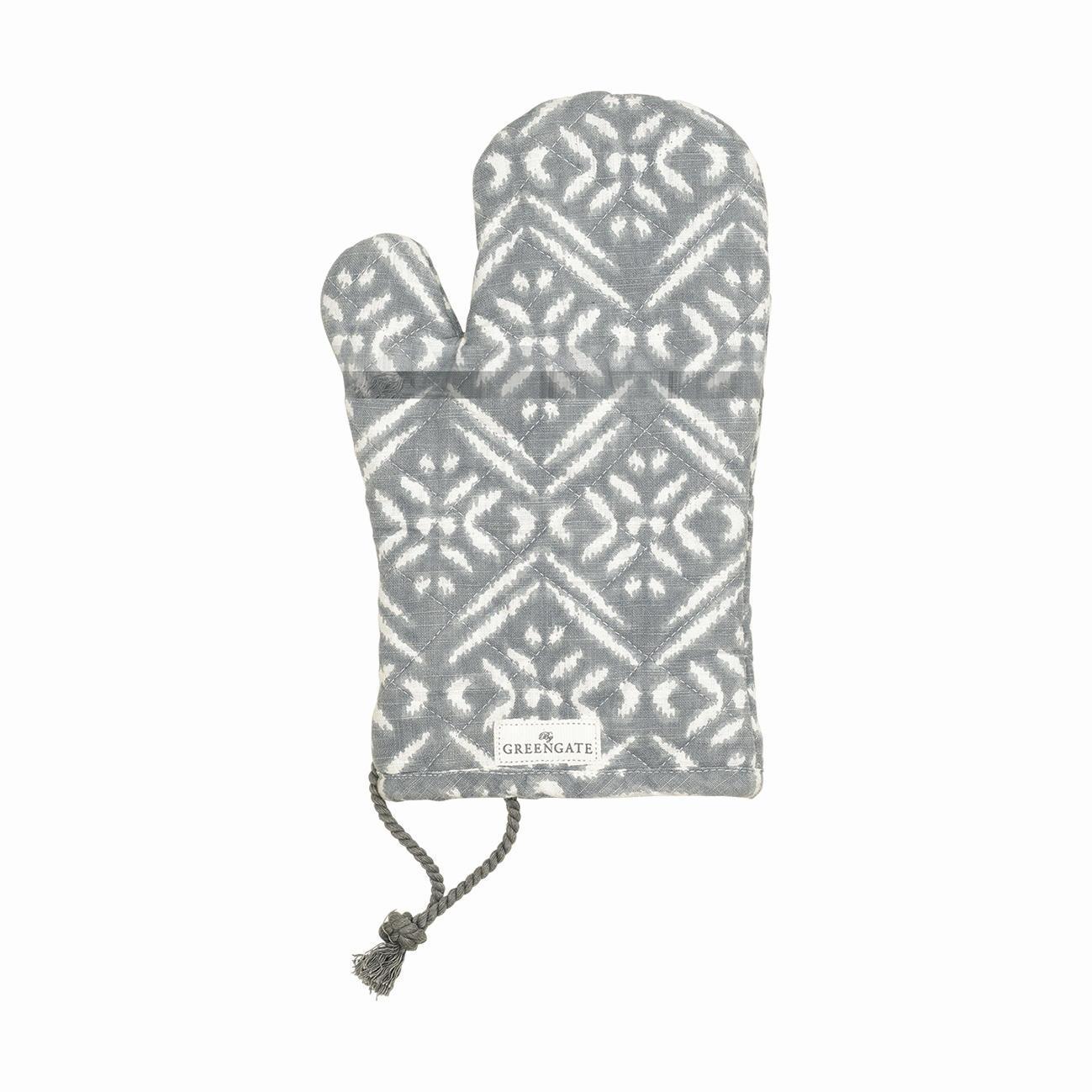 GREEN GATE Grilovací rukavice Kaya grey, šedá barva, bílá barva, textil