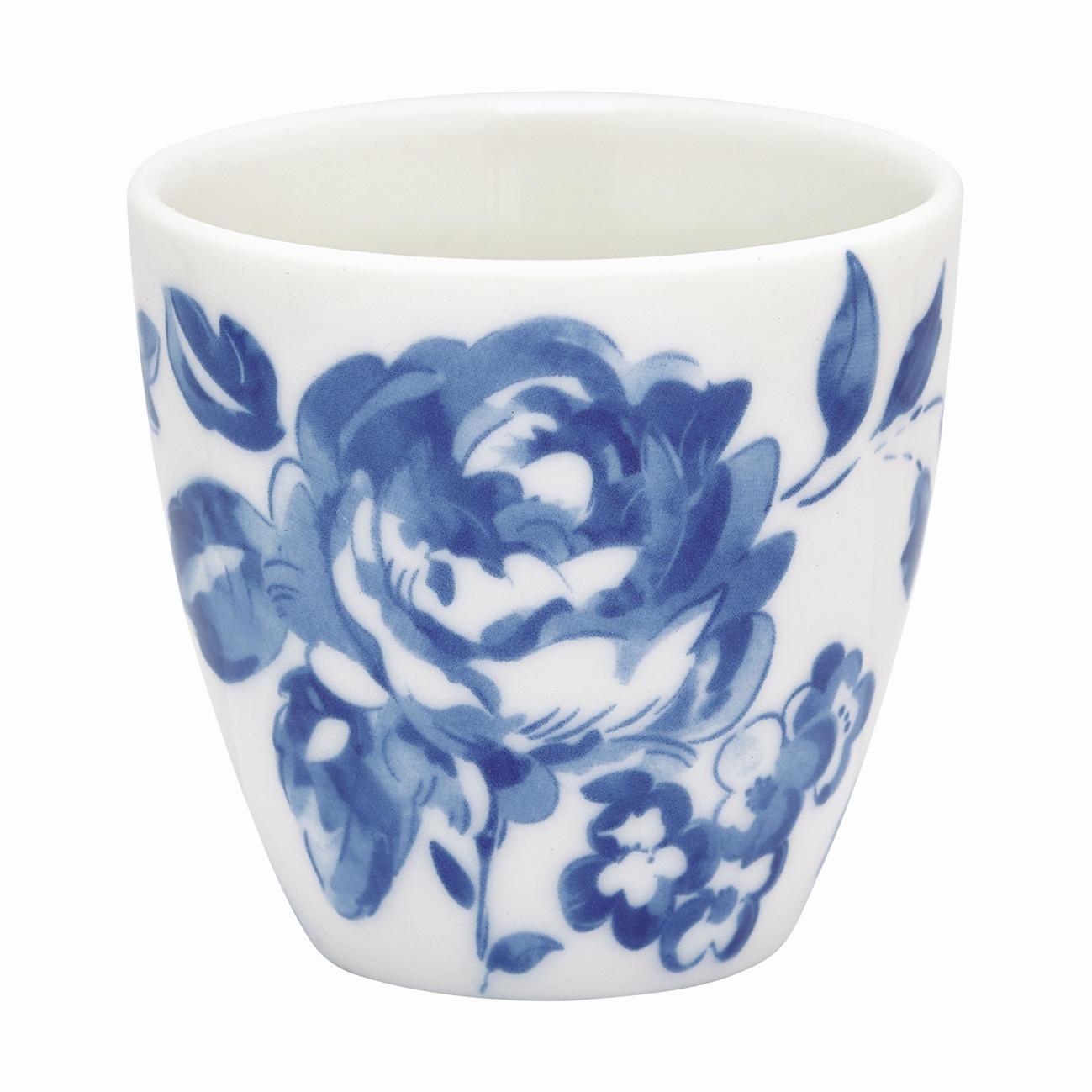 GREEN GATE Mini latte cup Amanda indigo, modrá barva, bílá barva, porcelán