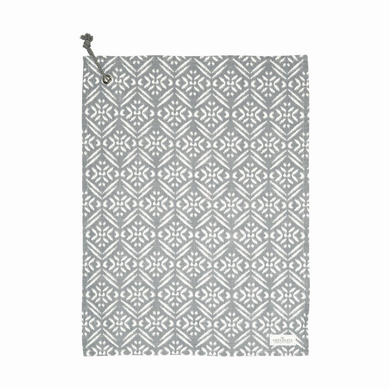 GREEN GATE Bavlněná utěrka Kaya Grey 50 x 70 cm, šedá barva, textil