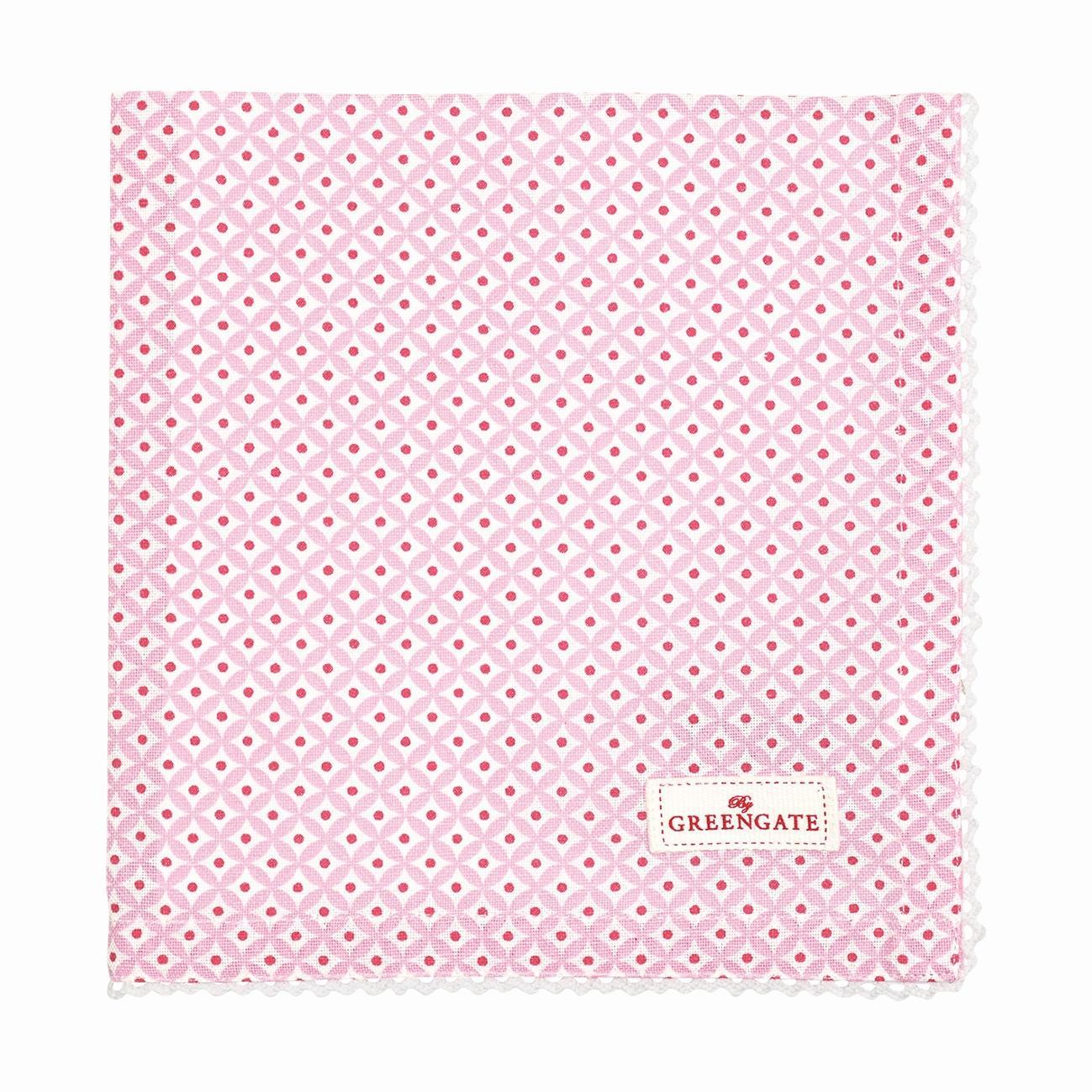 GREEN GATE Látkový ubrousek Noa raspberry, růžová barva, textil