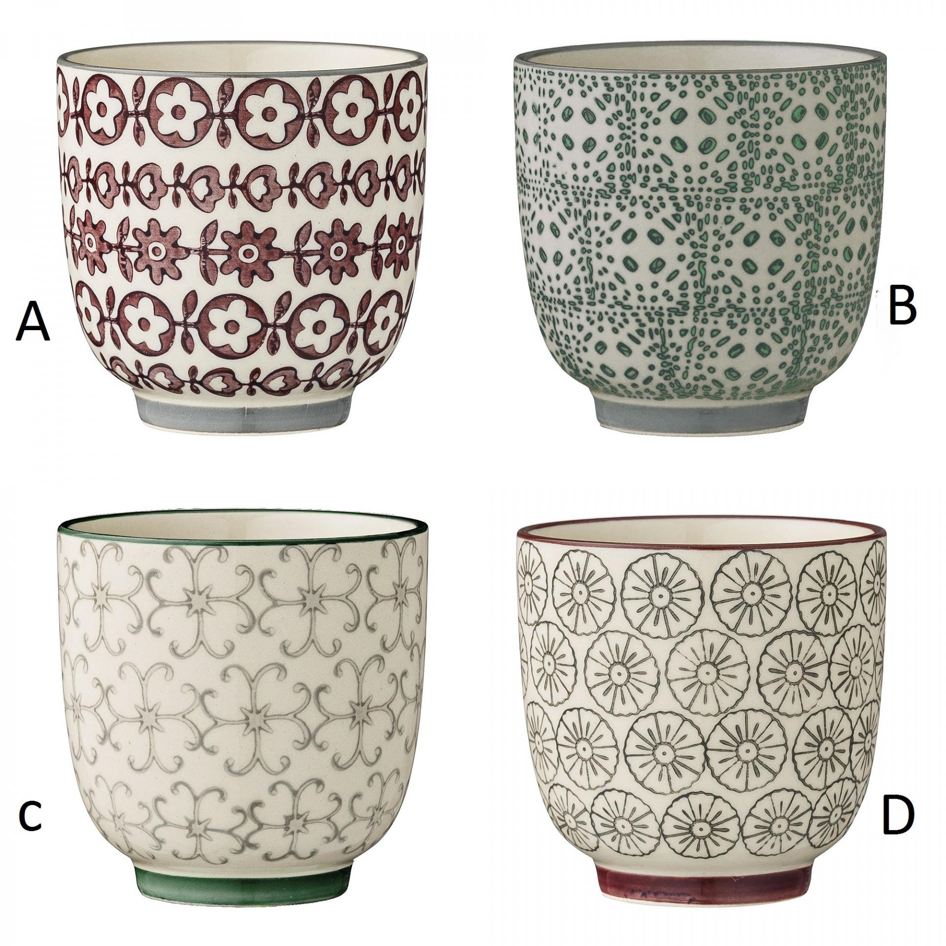 Bloomingville Keramický kalíšek Karine - 4 druhy Fialové květiny, multi barva, keramika