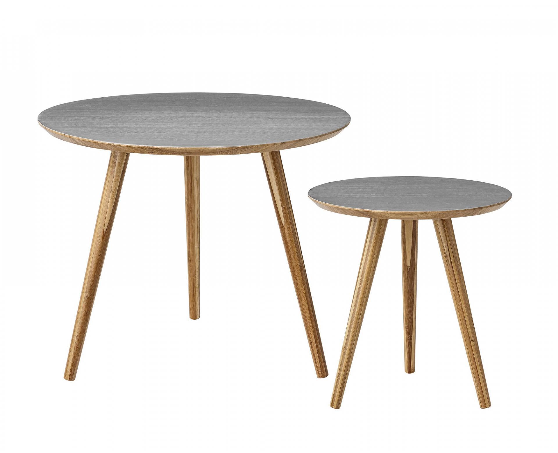 Bloomingville Bambusový konferenční stolek Grey Menší, šedá barva, hnědá barva, dřevo