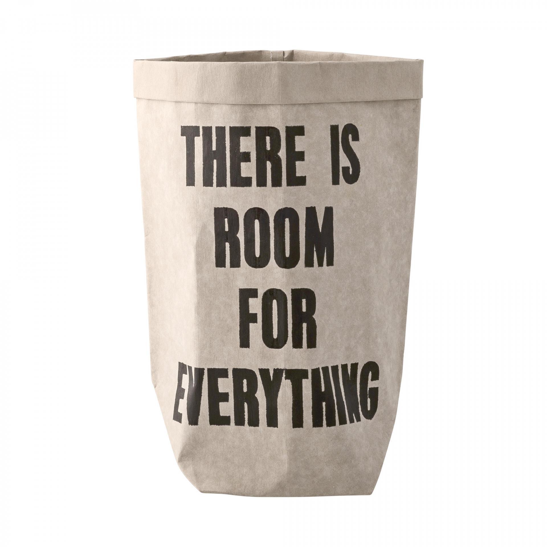 Bloomingville Papírový pytel Room For Everything, šedá barva, černá barva, papír