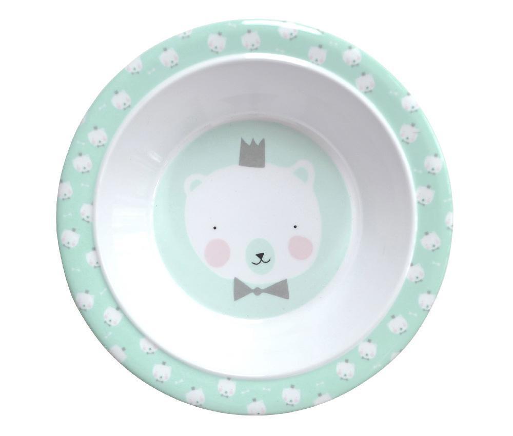 EEF lillemor Dětská melaminová miska Mint Polar Bear, zelená barva, melamin