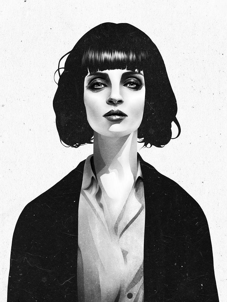 Ruben Ireland Grafický plakát Mrs Mia Wallace 50x70 cm, černá barva, bílá barva, papír