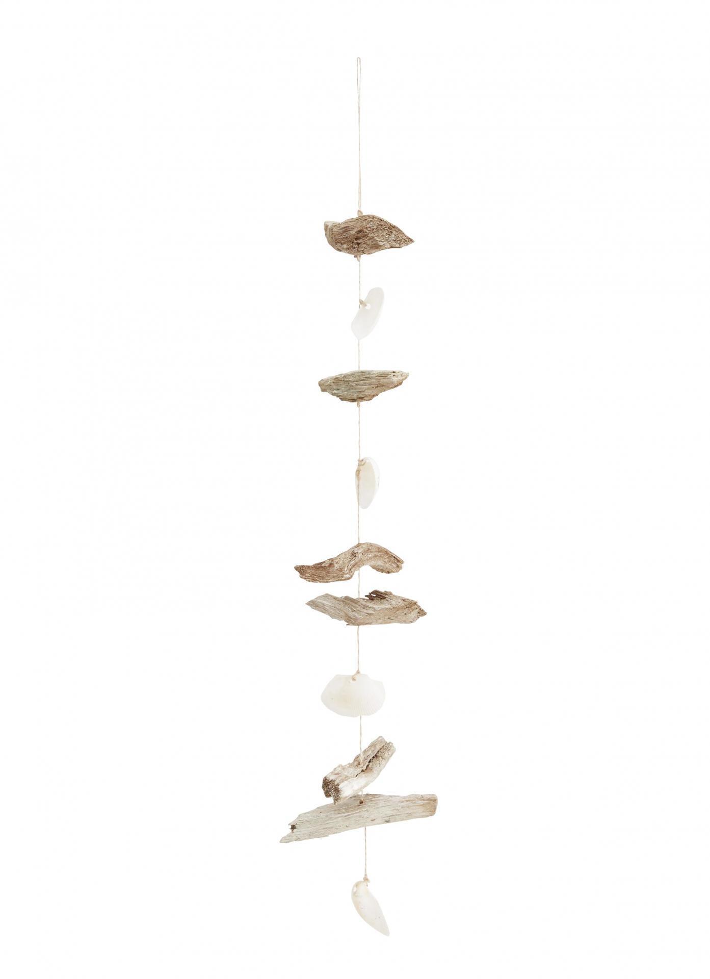MADAM STOLTZ Závěsná dekorace s dřívky a mušlemi White Shell, béžová barva, dřevo