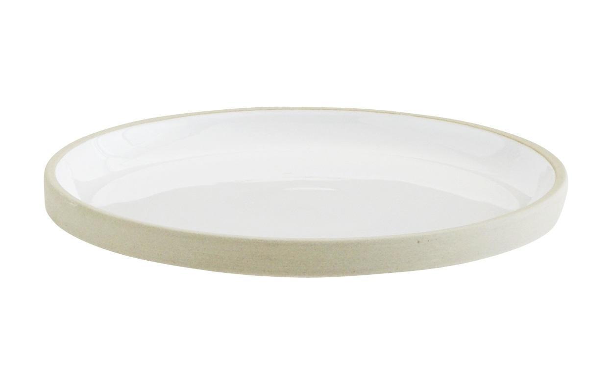 MADAM STOLTZ Keramický talíř Pottery White, béžová barva, keramika