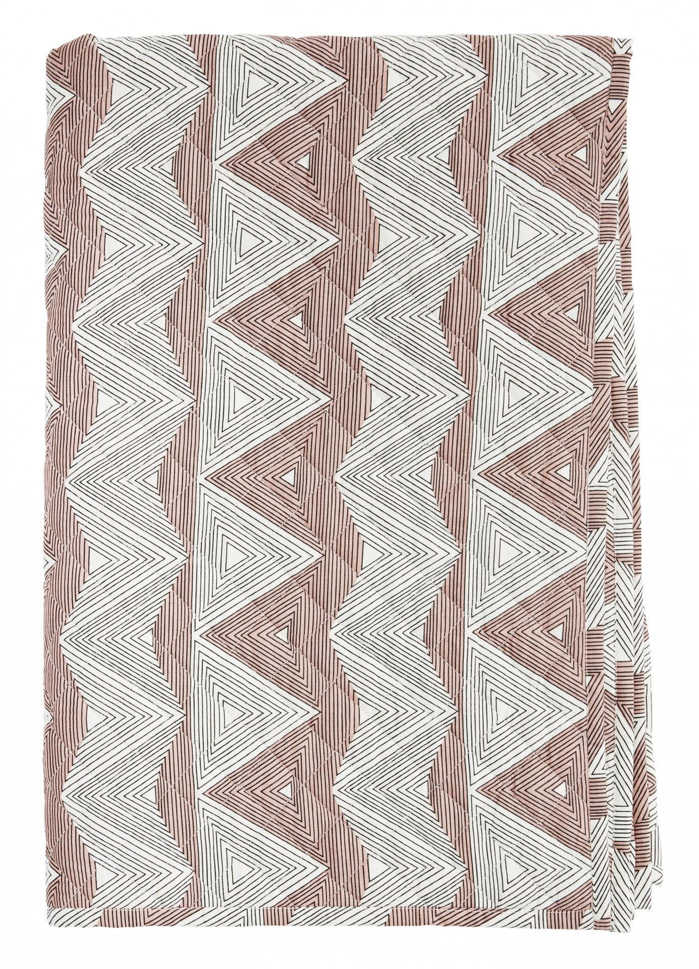 Madam Stoltz Bavlněná prošívaná deka Geometric, růžová barva, textil