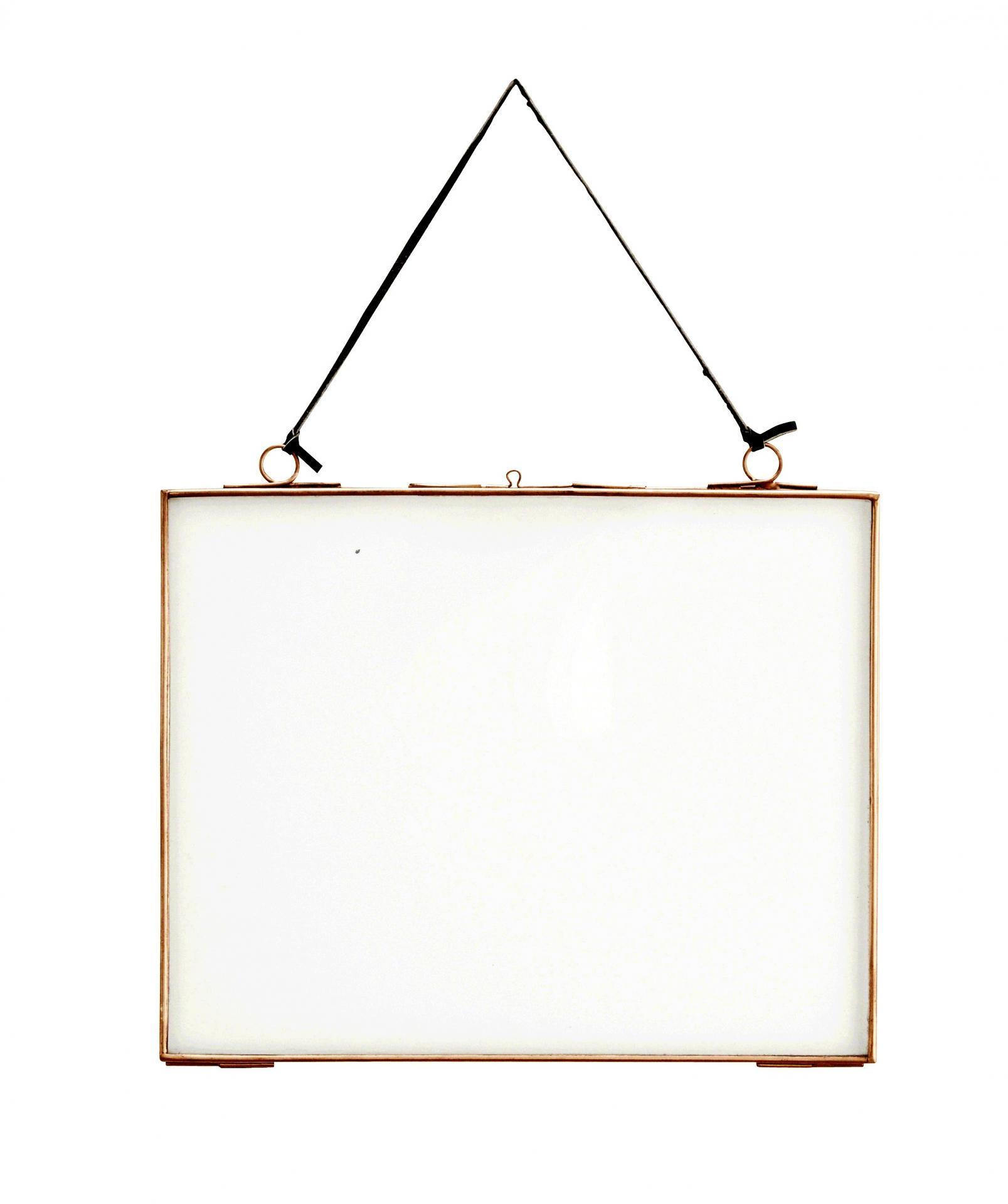 MADAM STOLTZ Rámeček na fotku z dvojitého skla Copper Big, měděná barva, čirá barva, sklo, kov