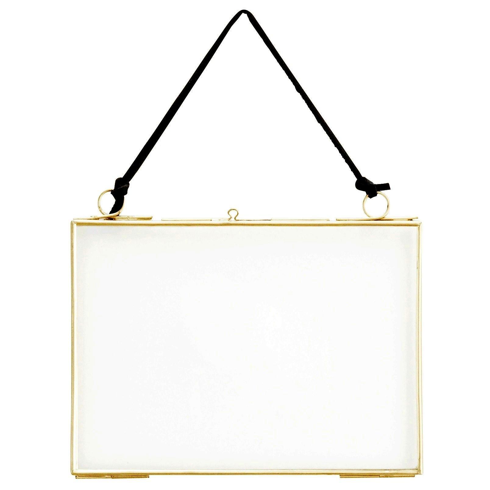 MADAM STOLTZ Rámeček na fotku z dvojitého skla Brass Small, zlatá barva, čirá barva, sklo, kov