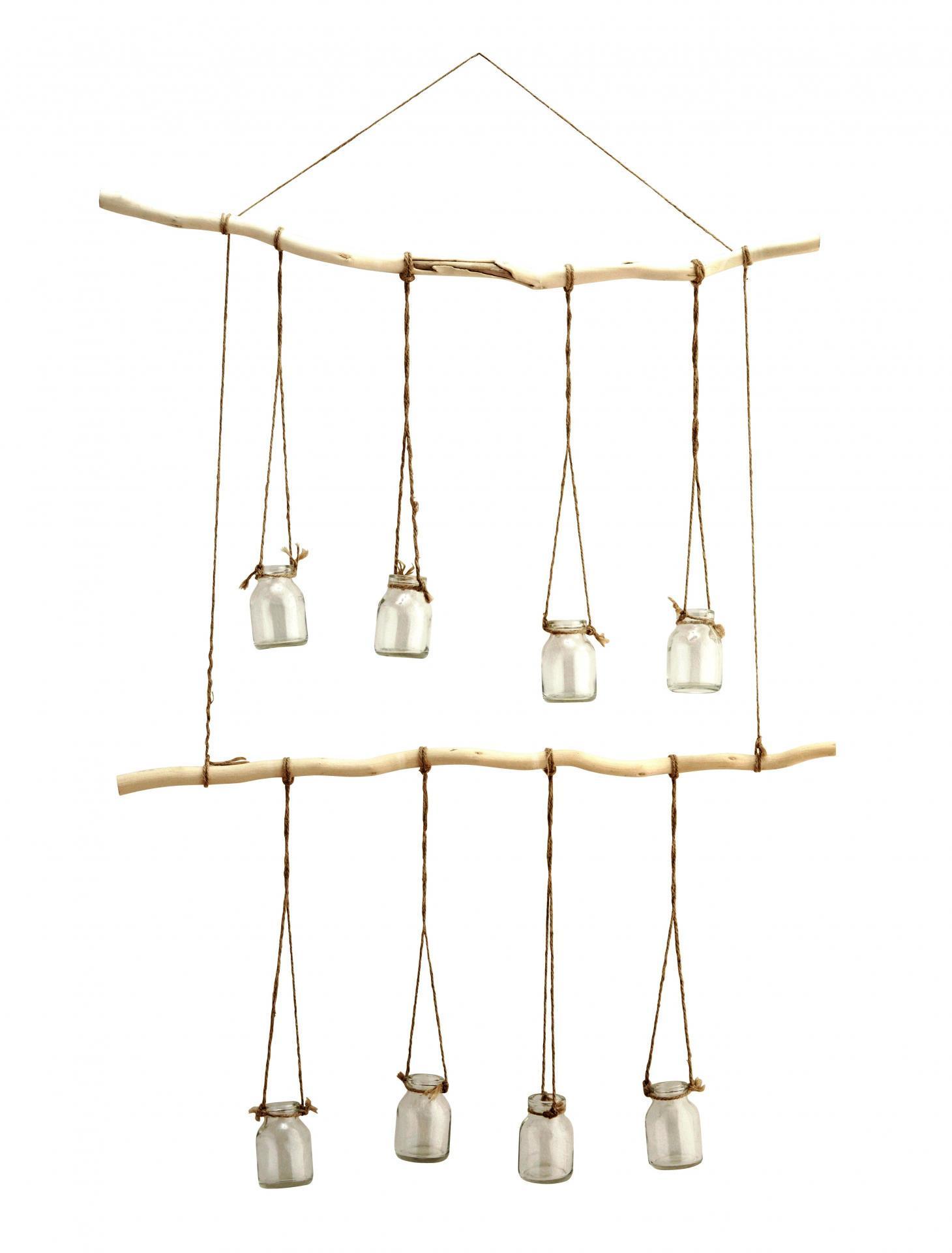MADAM STOLTZ Závěsná dekorace s osmi skleněnými vázičkami, čirá barva, sklo, dřevo