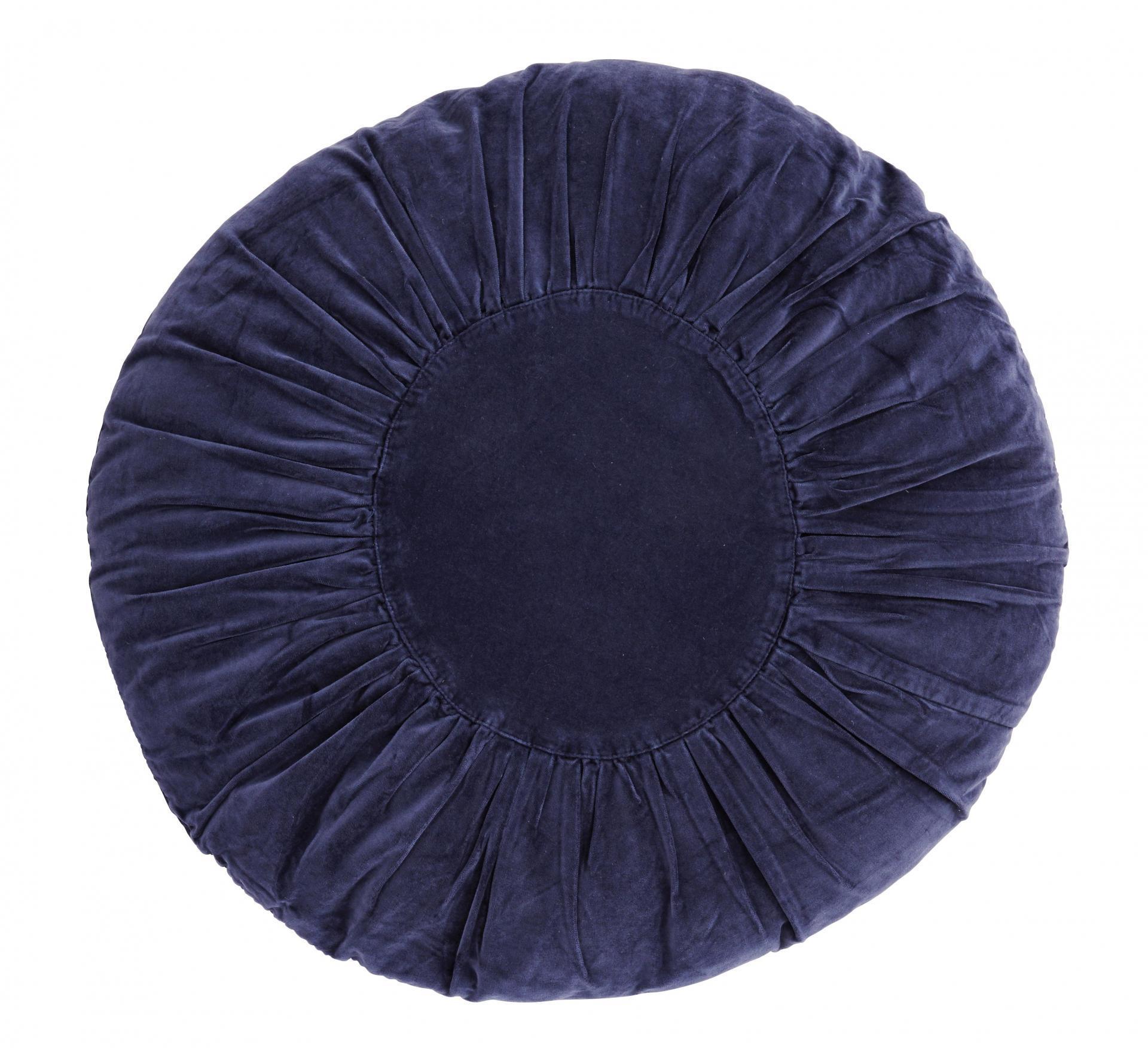 Madam Stoltz Kulatý sametový polštář Dark Blue 60 cm