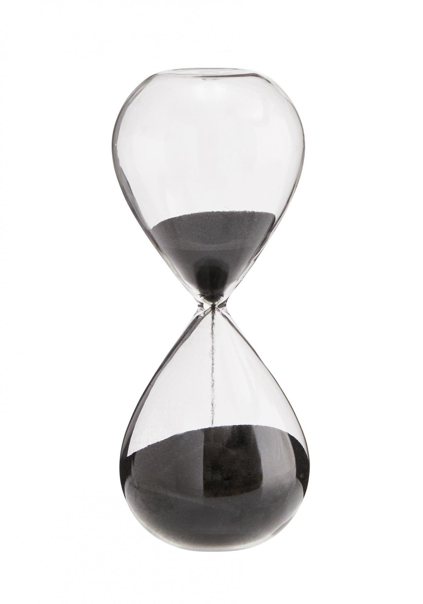 MADAM STOLTZ Přesýpací hodiny Black 10 min, černá barva, čirá barva, sklo